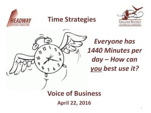 Headway Strategies Consulting, LLC - Time Management 04-22-2016 - Voice of Business